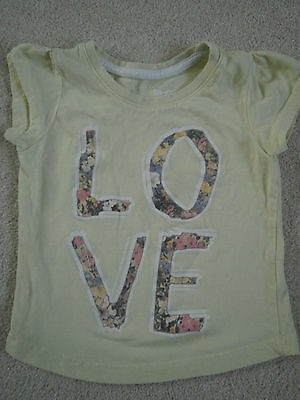 """Young Dimension baby girls t-shirt age 18-24m yellow with """"Love"""" on the front"""