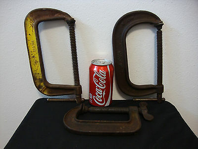 "Lot of 3 Vintage USA Made C-Clamps- (2) 6"" (1) 4"""