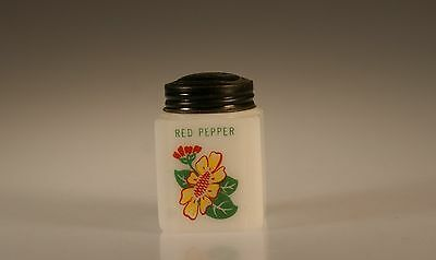 Tipp City Glass Yellow Daisy With Red Geranium Red Pepper Range Shaker c.1939