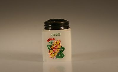 Tipp City Glass Yellow Daisy With Red Geranium Cloves Range Shaker c.1939