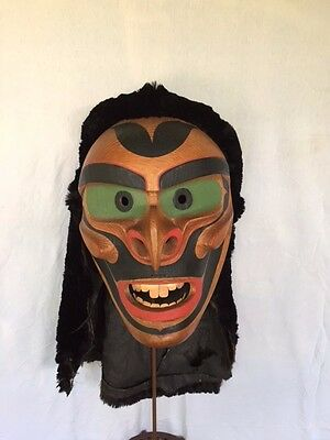 Pacific Northwest Kuakiutl Buk-Was Mask by Master Carver