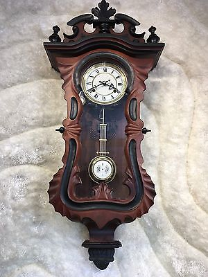 Large  Gorgeous New Alarm Wall Clock W  Amazing Carved Wood Case Excellent Work