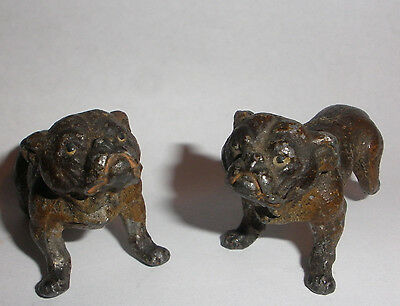 Two Antique Vienna cold painted miniature bulldog figure