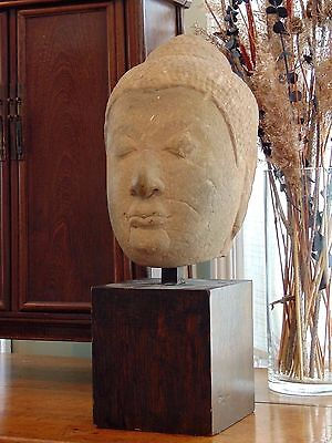 Lifesize Antique Thai Carved Sandstone Statue Head Of Buddha, Ayutthaya Period