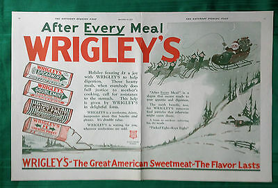 1922 Vintage Magazine Double Page ~ Wrigley's Spearmint Chewing Gum~ Christmas
