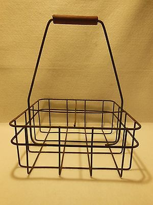 Vintage Dairy Milk Bottle Metal Wire Basket / Carrier W/ 4 Sections Wire Handle