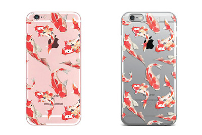 Koi Carp Japanese Fish Clear Soft Case Cover for iPhone 5/5s/SE 6/6s 7 8 Plus X