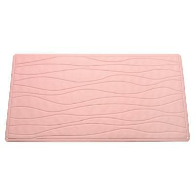 Carnation Home Small (13'' x 20'') Slip-Resistant Rubber Bath Tub Mat in Rose