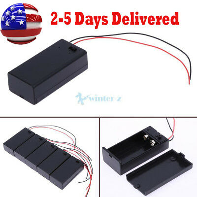 5PCS 9V Battery Holder Box Case with 13cm Wire Lead ON/OFF Switch Cover Black US