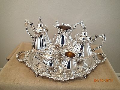 Wallace Silver Plate Tea Coffee And Pitcher Set With Tray