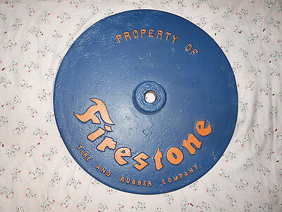 ORIG 21 inch Cast Iron Firestone Tire and Rubber Co Lollipop Sign Base REPAINTED