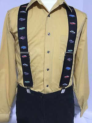 "New, Men's, Vintage Cars on Black, XL, 2"", Adj. Suspenders / Braces, Made in USA"