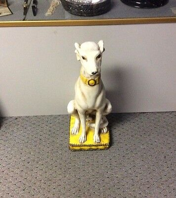 True Deco Whippet - Greyhound Dog Painted Decorative Statue w/ Scrolled Base