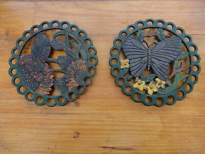 Pair Vintage Cast Iron Trivets