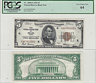 1929 $5 Federal Reserve Bank Dallas F-1850-K  PCGS Very Choice New-64