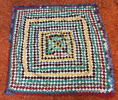 "Vintage Small Hand Stitched Pieced Quilt Top-38"" X 40""-Tiny Pieces"