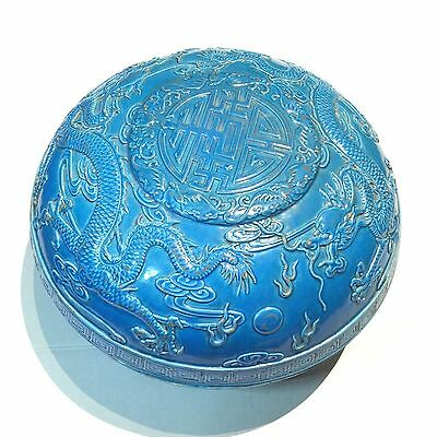 Chinese Large Blue Glaze Carved Porcelain Dragon Container Qianlong Mark