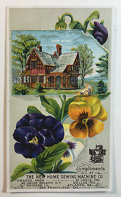 New Home Sewing Machine Victorian Trade Card, E.B. Chase & Co., New Bedford Mass