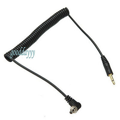 3.5mm Flash Sync Cable Cord + Screw Lock to Male Flash PC for Canon Nikon Camera
