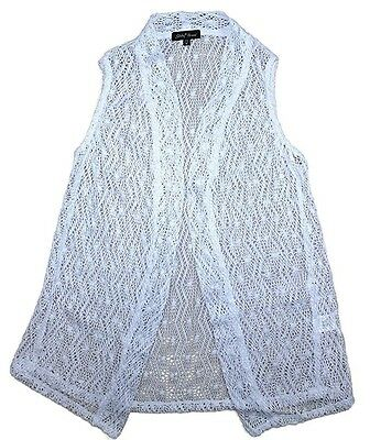 SLINKY BRAND Women's Crocheted Open Front Vest Cover Up White Small