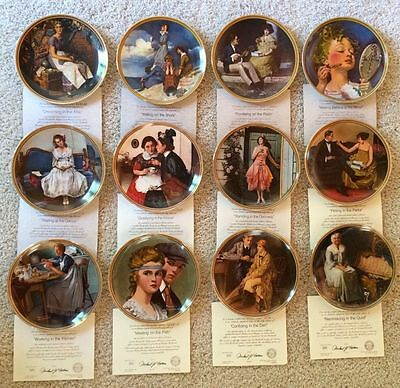 12 Norman Rockwell's Rediscovered Women Plates - Complete Set - MINT - NIB