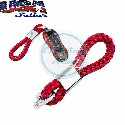 Red Universal Fits Car Key Fob Keychain Braided Leather Strap Key Chain Ring