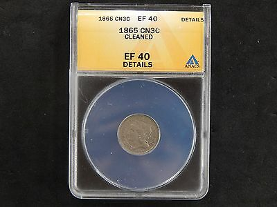1865 Three Cent Nickel - ANACS Graded EF 40 - Cleaned