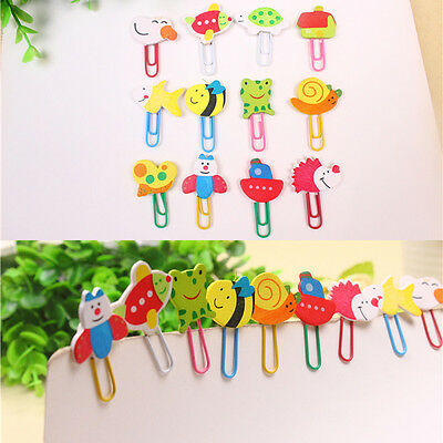 12pcs Cute Wooden Character Paper Clip Bookmark Reading Binder Folder Stationery