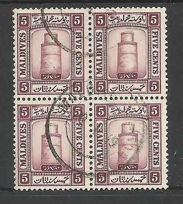 MALDIVE ISLANDS SG14a 1933 GV 5c MAUVE FINE USED BLOCK OF 4 ,C. £40+ SEE SCANS