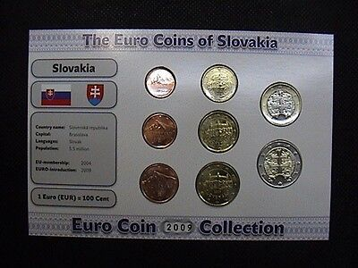 SLOVACCHIA 2009 SET COMPLETO 8 MONETE da 1 EUROCENT a 2 EURO IN BLISTER