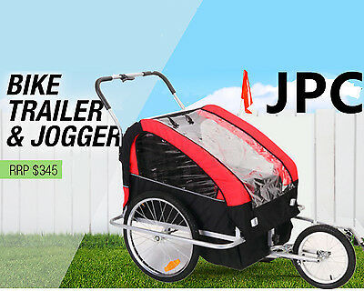 Double Kid Bike Trailer Pet Dog Cat Bicycle Stroller Fold Able Cargo Pram Jogger