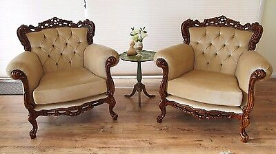 Pair Vintage French Louis Antique Style Velvet Chesterfield Armchairs/chairs