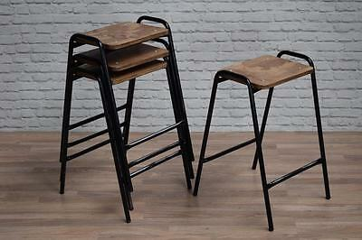 Industrial Vintage Style Stacking School Lab Cafe Bar Stools (inc VAT)