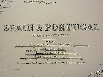 1873 Large Victorian Map ~ Spain & Portugal Balearic New Castile Leon Aragon