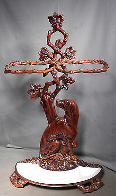 Antique Victorian Enamel Cast Iron Metal Umbrella Stand Seated Dog Oak Branches