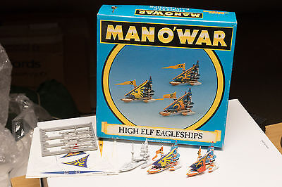 Warhammer Man o'War High Elf Eagleships Squadron x 3 in original Box Rare OOP