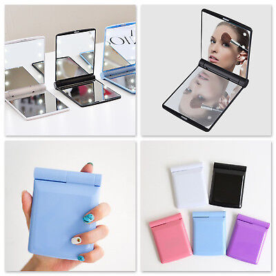 Portable Fold Handheld Cosmetic Makeup Foldable LED Mirror Travel Compact Pocket