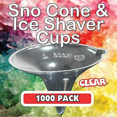 Snow Cone Cups 1000 Pack in CLEAR - Ice Shaver Cup Sno Cones Machine