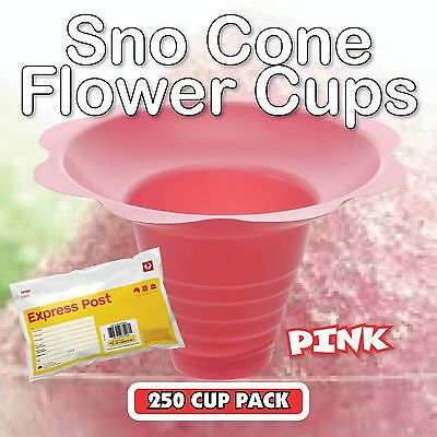 Snow Cone Cups 250 Pack in PINK - Ice Shaver Cup Sno Cones Flower EXPRESS POST