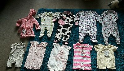 baby girls babygrows age 0-3 months x9 & dressing gown