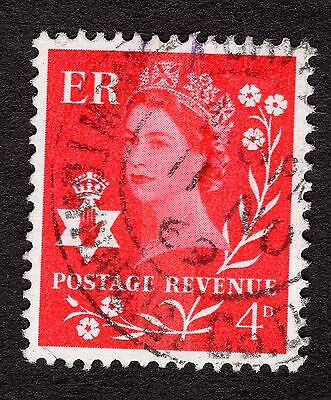 Northern Ireland SG NI9 4d Brt Vermilion Cent Phosphor Band FINE USED R30647