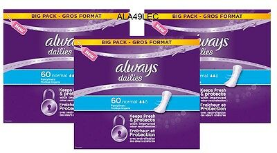 Always Dailies Normal Value Pantyliner 60 Pack X 3