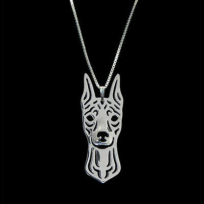 Miniature Pinscher  Dog Pendant Necklace Silver ANIMAL RESCUE DONATION