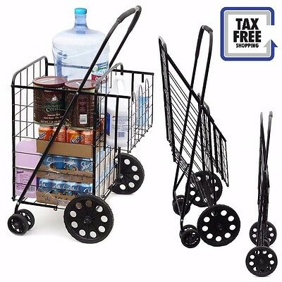 Wellmax Dual Basket Jumbo Size Folding GROCERY Shopping Cart With Swivel Wheels