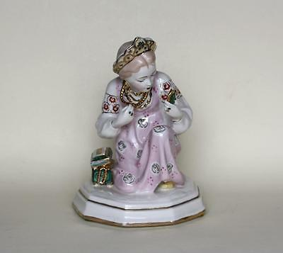Antique Soviet Russian Porcelain Figurine of Girl Alionushka with Mirror By LZFI