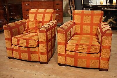 Couple armchairs Donghia orange squared fabric chairs antique style 900 cabinet