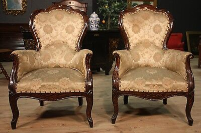 Antique pair armchairs chairs italian furniture wood painted floral fabric 900