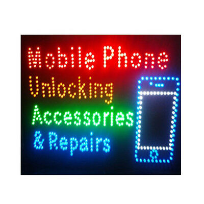 New Mobile Phone Unlocking Accessories & Repairs Window Sign Led Board Flashing