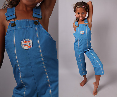 vtg overalls 70s 80s Jungle Patrol kids romper blue pants bibs unisex girl boy