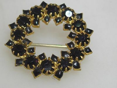 Antique 1890's Victorian Gold Washed Black Enamel & Black Glass Mourning Pin!